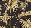 Fekete, arany vlies trópusi levél mintás tapéta