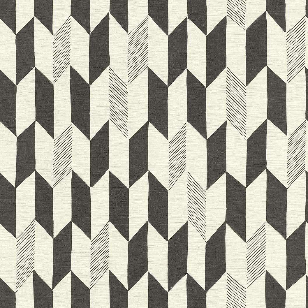 Fekete, bézs geometriai mintás tapéta