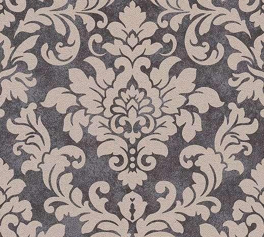 Fekete-bézs klasszikus barokk mintás vlies tapéta