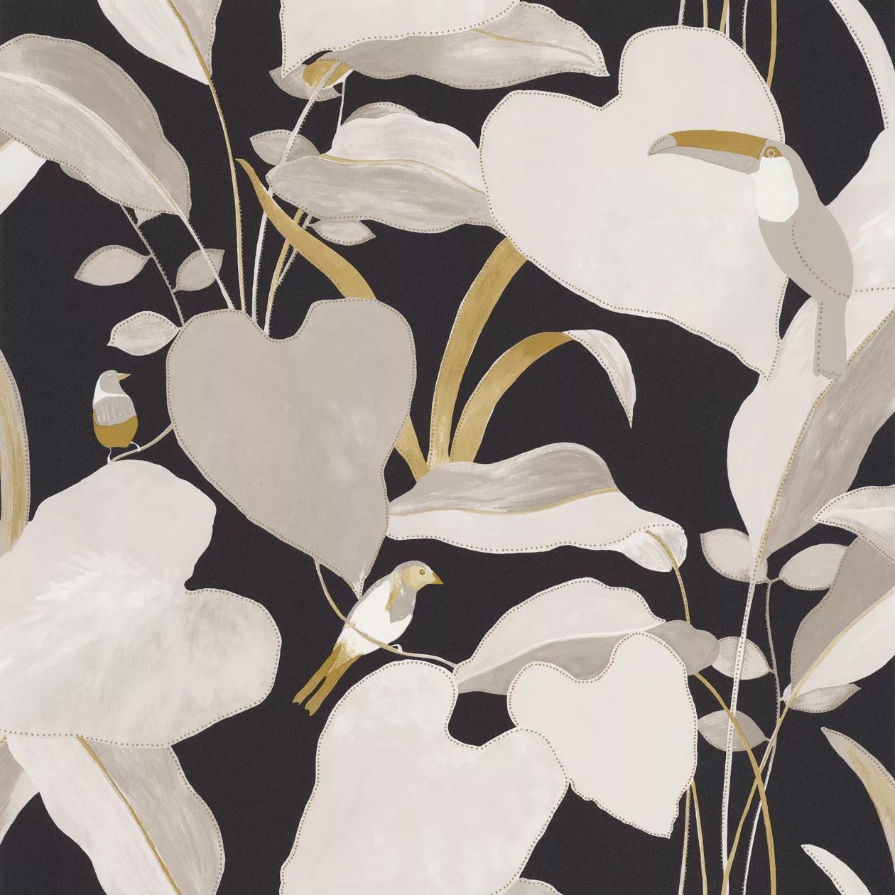 Fekete bézs levél és tukán madár mintás vlies design tapéta