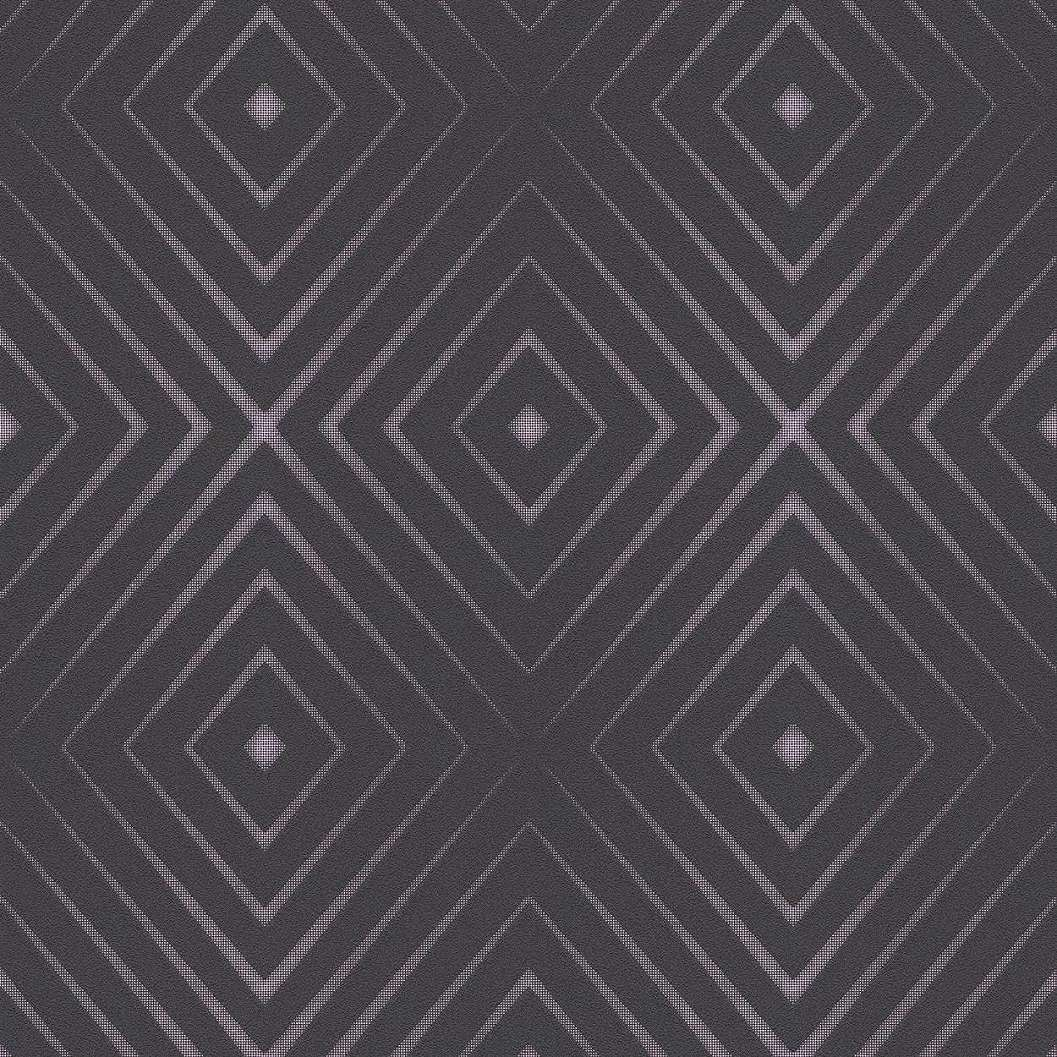 Fekete dekor tapéta modern geometrikus mintával