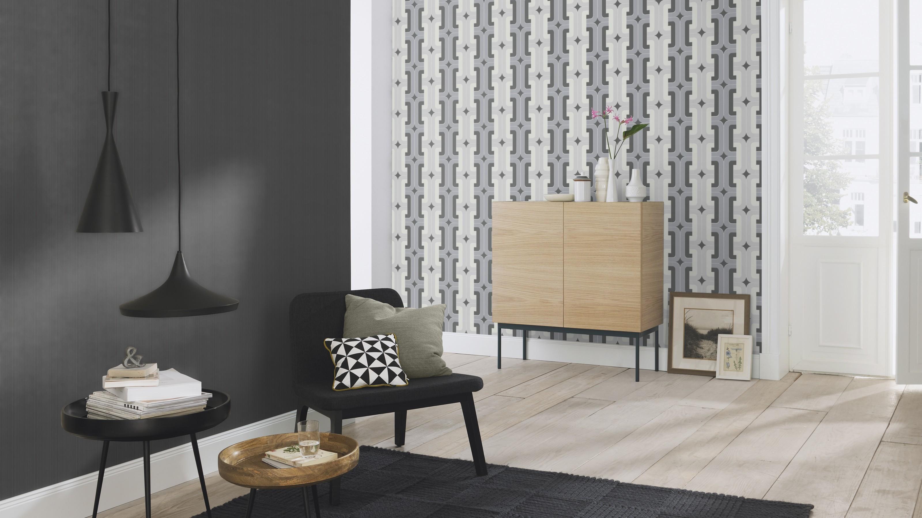 Fekete egyszínű csíkos retro tapéta