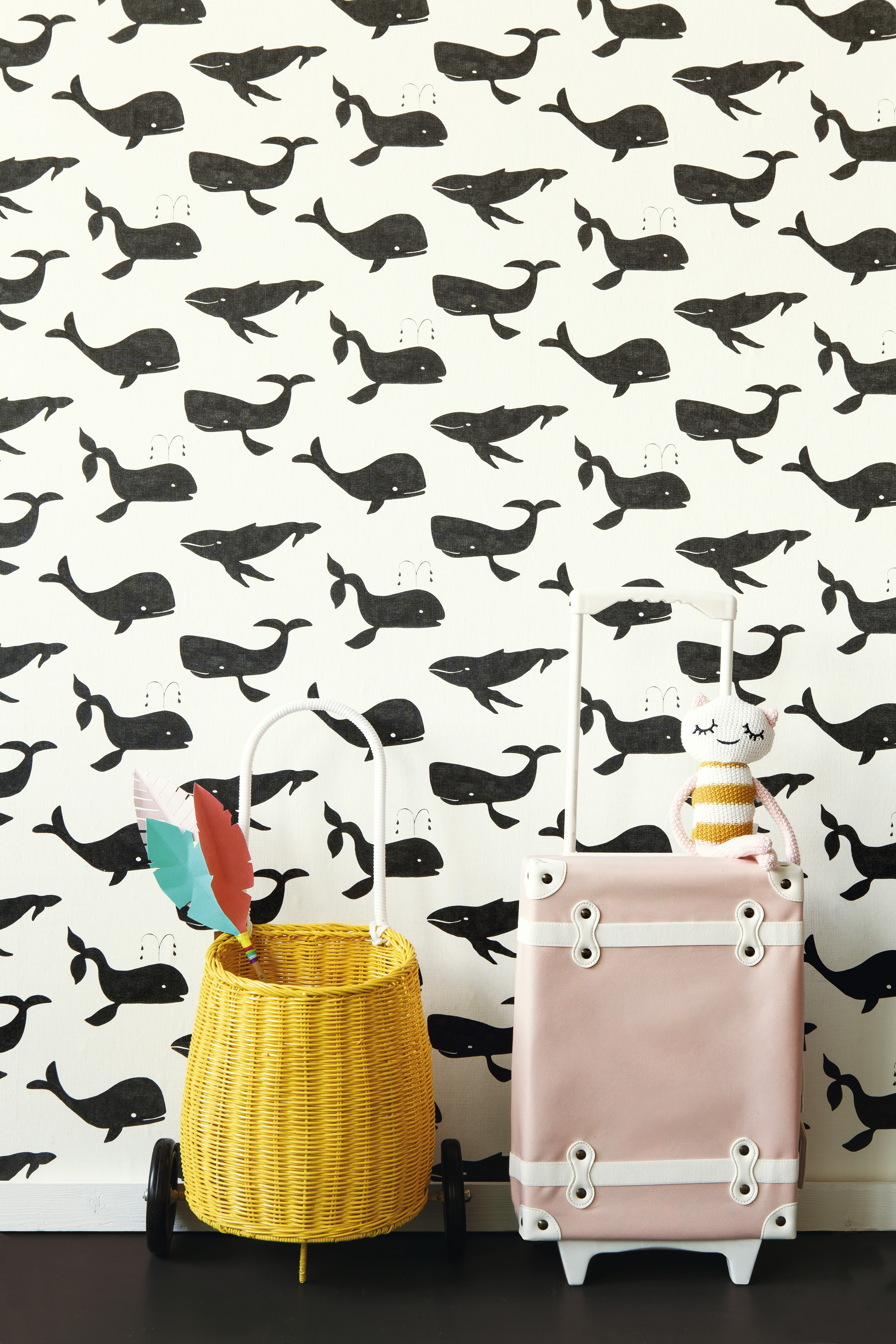 Fekete fehér bálnás gyerek tapéta