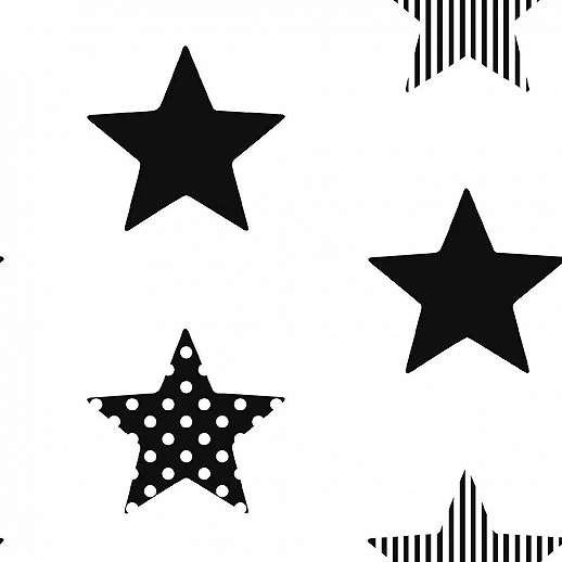 Fekete fehér csillag mintás vlies gyerektapéta