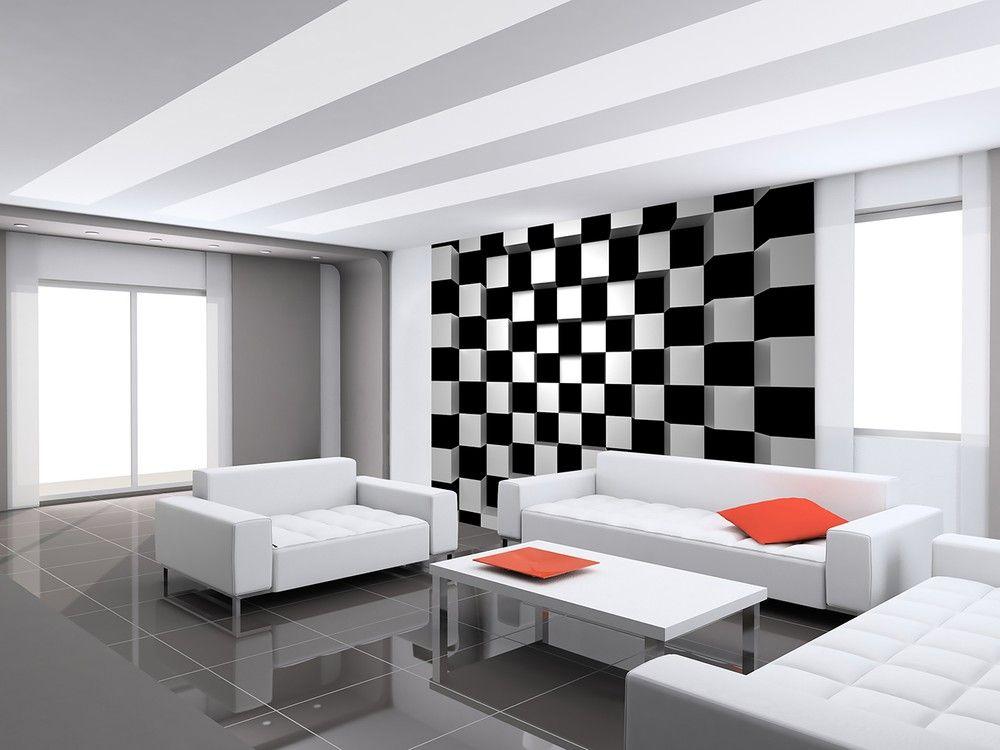 Fekete fehér kockák modern fali poszter