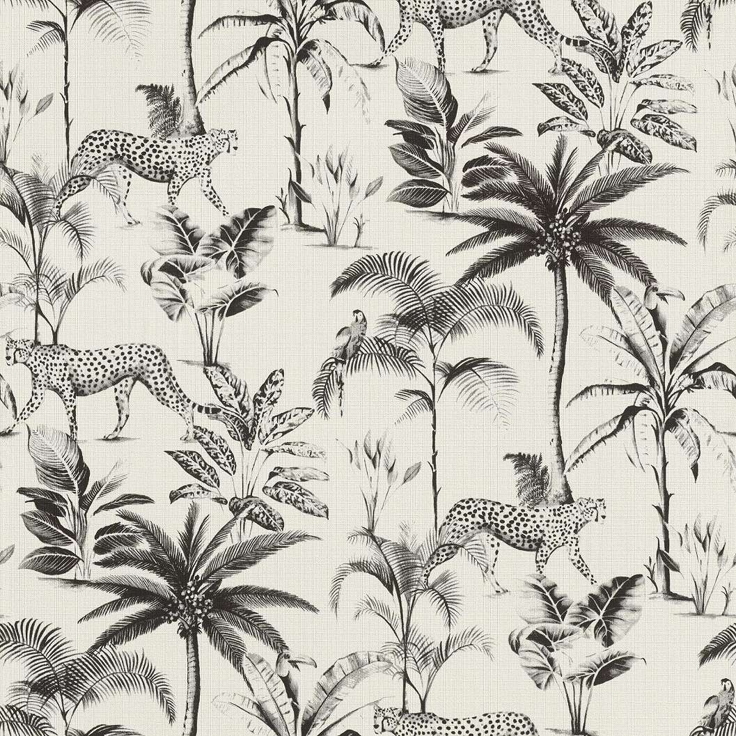 Fekete-fehér modern tapéta leopár, pálma mintával