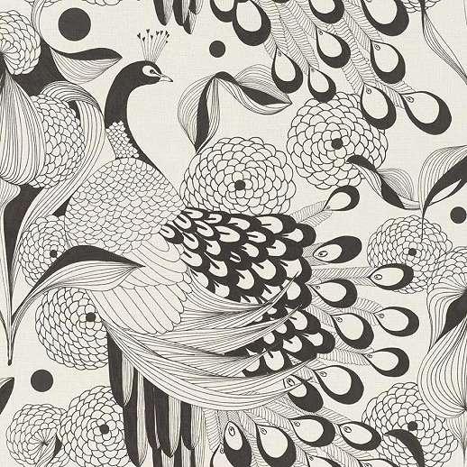 Fekete fehér orientális hangulatú páva mintás vlies tapéta