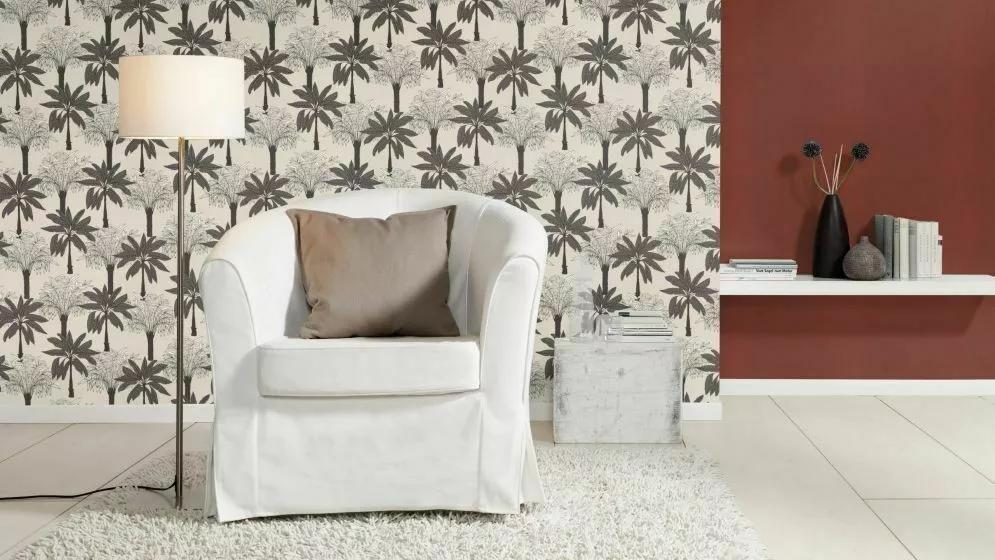 Fekete-fehér rajzolt stílusú modern pálma mintás vlies tapéta