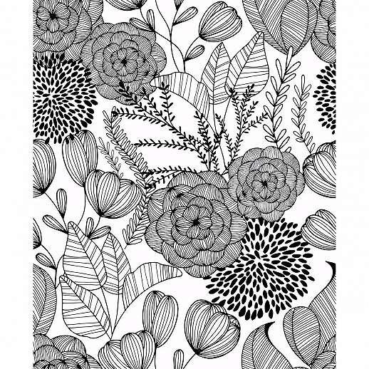 Fekete fehér skandináv stílusú rajzolt virágmintás vlies tapéta
