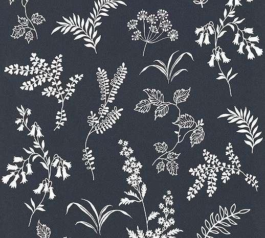 Fekete fehér tapéta levél, virágmintával skandináv stílusban