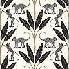 Fekete fehér tapéta modern trópusi mintával