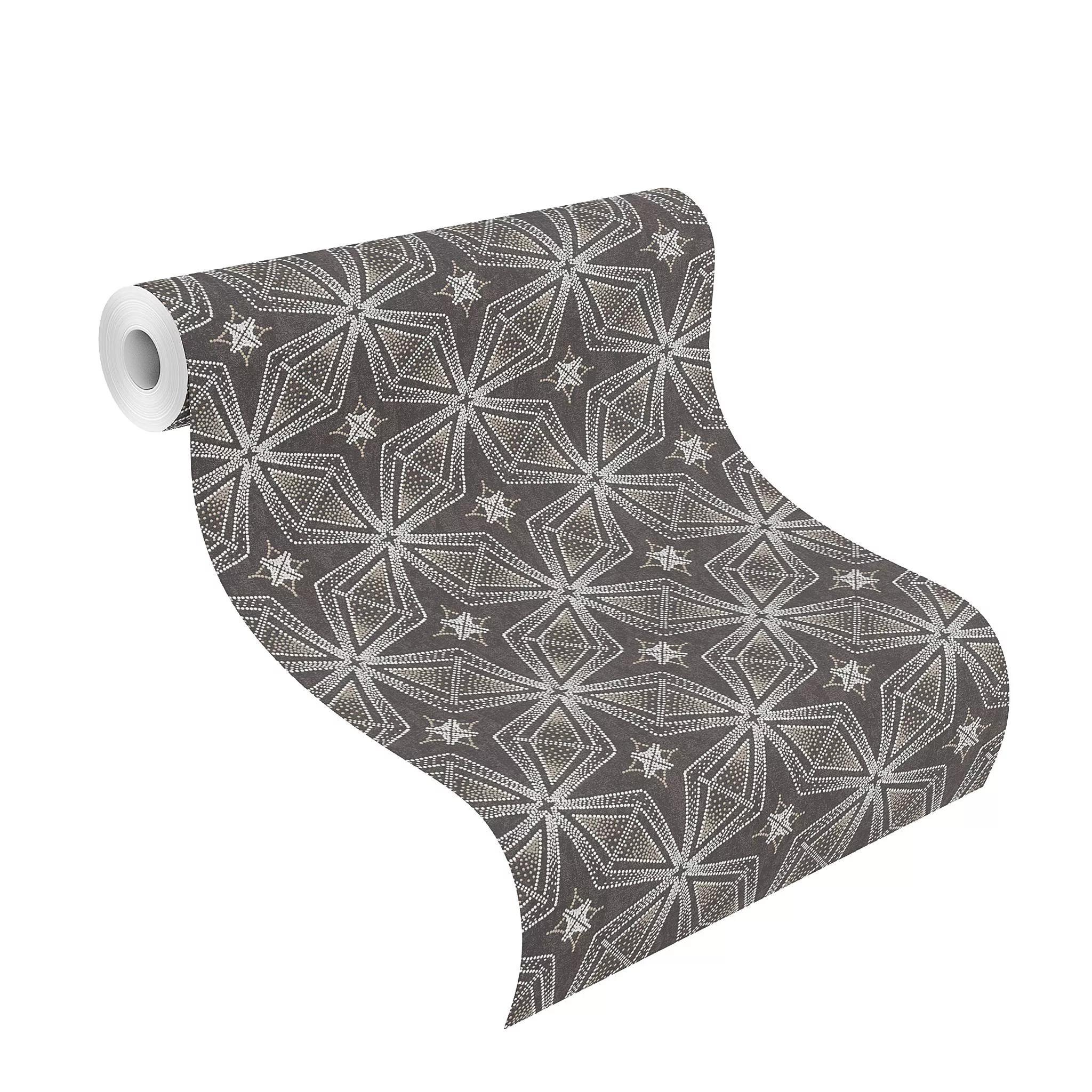 Fekete geometrikus mintás modern dekor tapéta