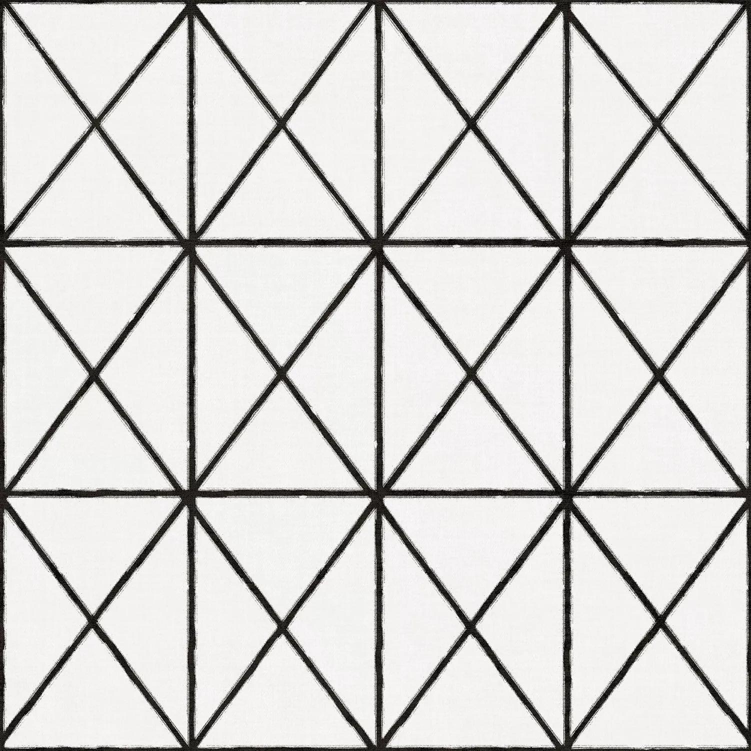 Fekete háromszög geometrikus mintás vinyl tapéta