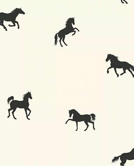 Fekete ló mintás gyerek tapéta