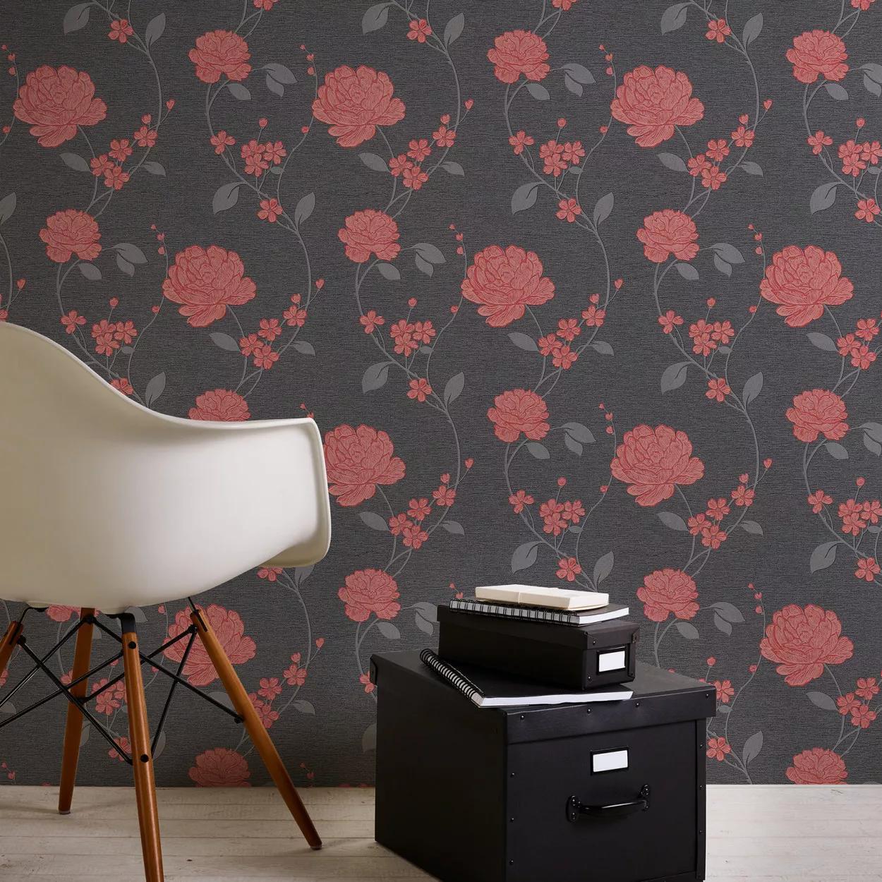 Fekete piros klasszikus virágmintás tapéta