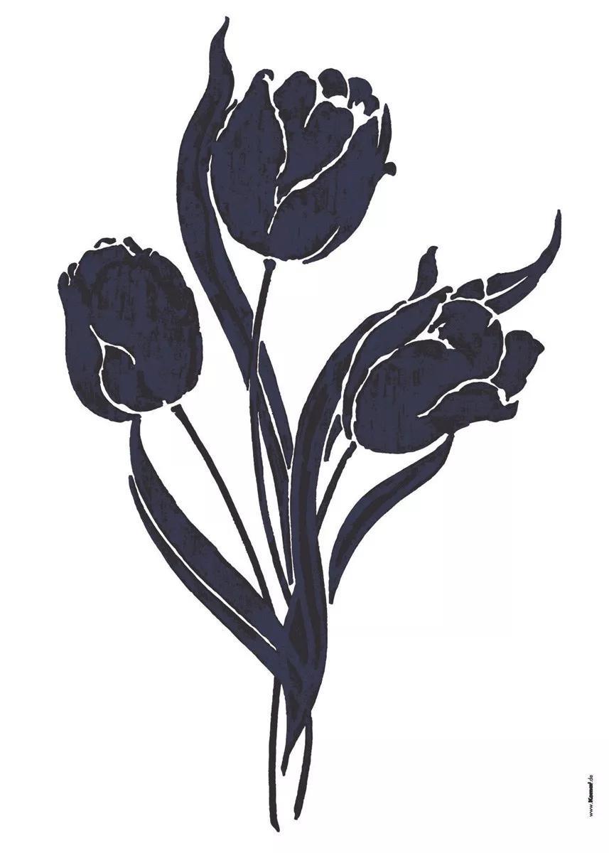 Fekete tulipán mintás falmatrica