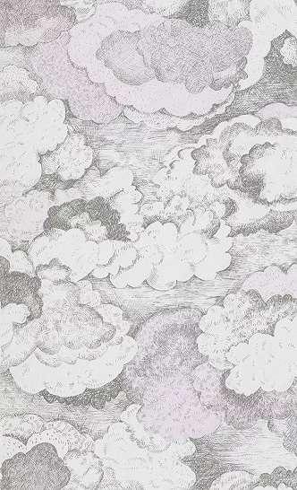 Felhő mintás gyerek tapéta szürke, pasztell rózsaszín színvilágban skandináv rajzolt stílusban