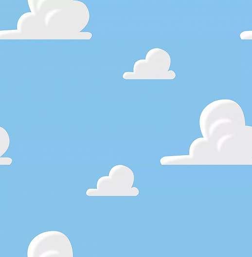 Felhő mintás gyerektapéta kék alapon fehér felhő mintával