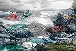 Fennséges hegytető alpesi tájkép fali poszter