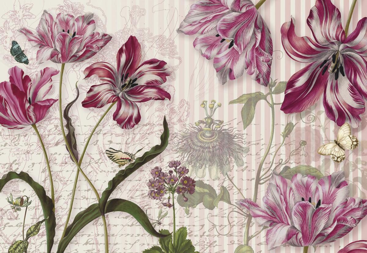 Festett hatású virágos poszter