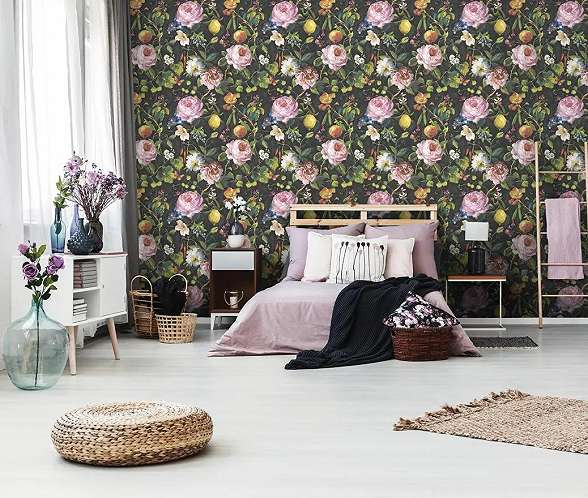 Festmény hatású egzotikus gyümölcs és virágmintás romantikus hangulatú vlies prémium tapéta