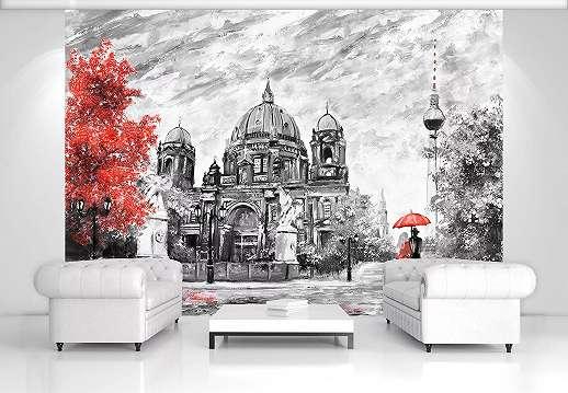 Festmény hatású épület mintás fali poszter