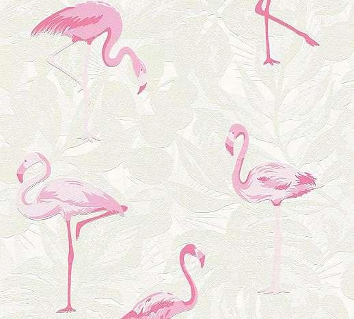 Flamingó mintás vlies tapéta, krémfehér alapon rózsaszín flamingó mintával
