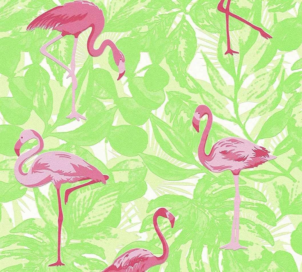 Flamingó mintás vlies tapéta zöld levélmintás alapon