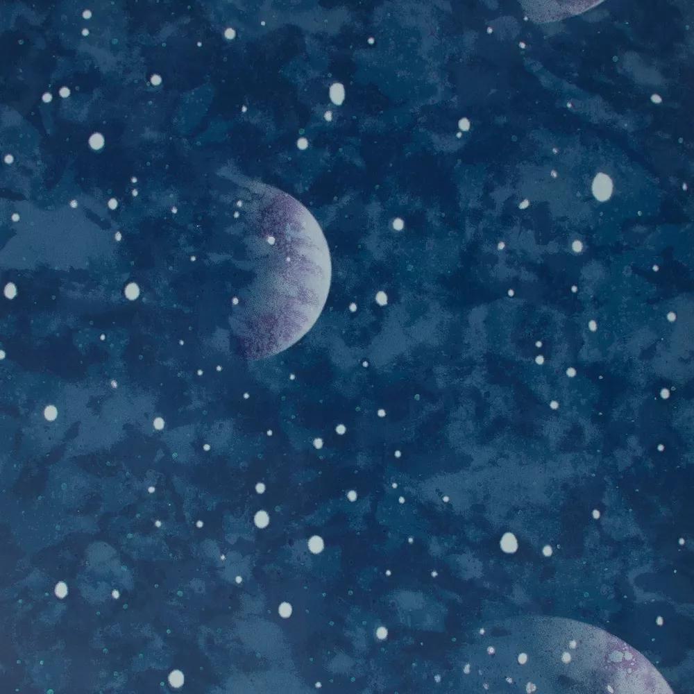 Foszforeszkáló bolygó mintás tapéta gyerekszobába