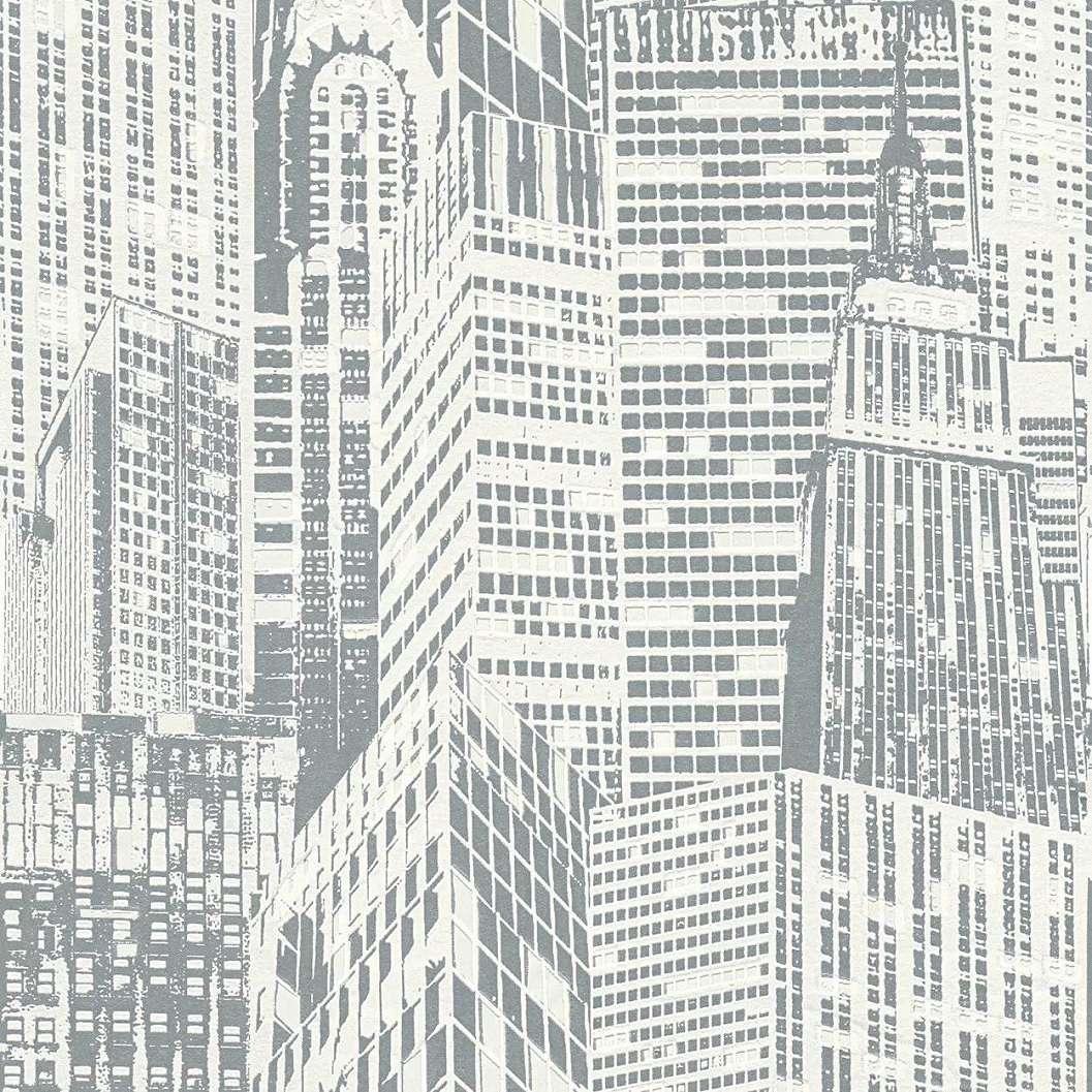 Foszforeszkáló ezüst fehér dekor tapéta épület mintával