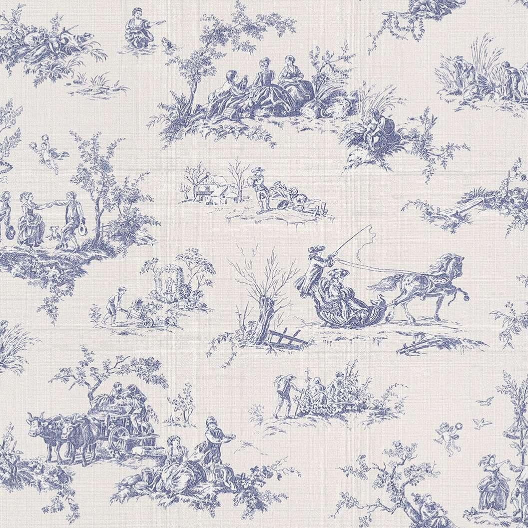 Francia provence TOILE mintás kék tapéta