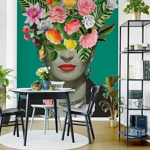 Frida Kahlo fali poszter színes virágmintával