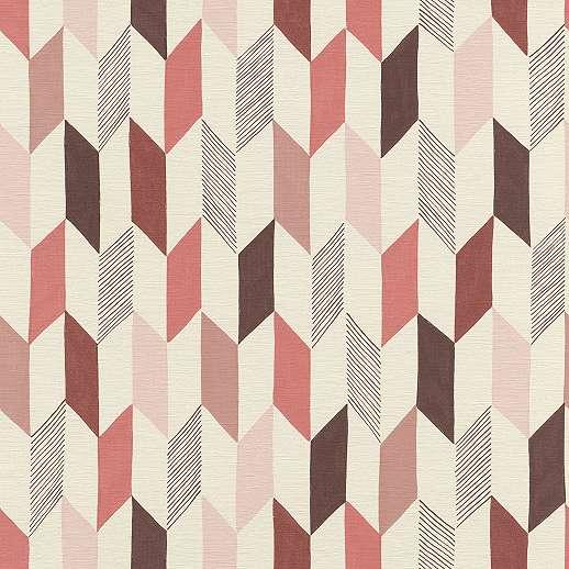 Geometria mintás tapéta vörös, pink színű mintákkal