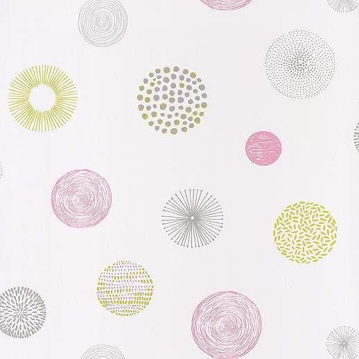 Geometriai mintás gyerek tapéta rózsaszínes, zöldes árnyalatokkal