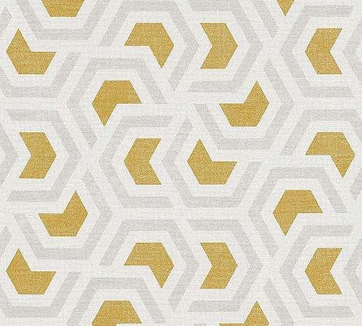 Geometrikus mintás modern tapéta szürke sárga mintával