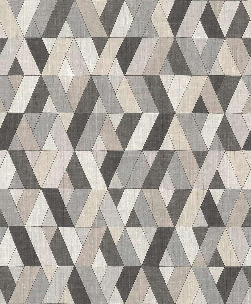 Geometrikus mintás vlies tapéta föld színekkel
