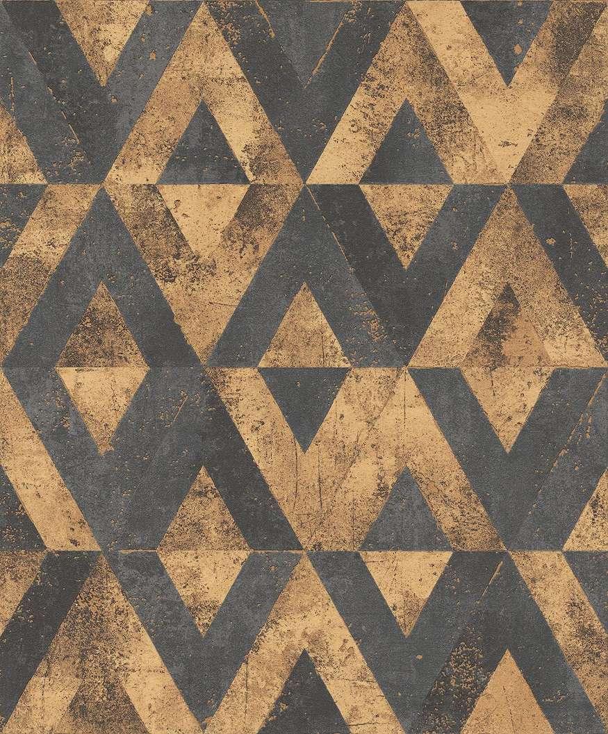 Geometrikus rombusz mintás vlies tapéta barna szürke színvilágban