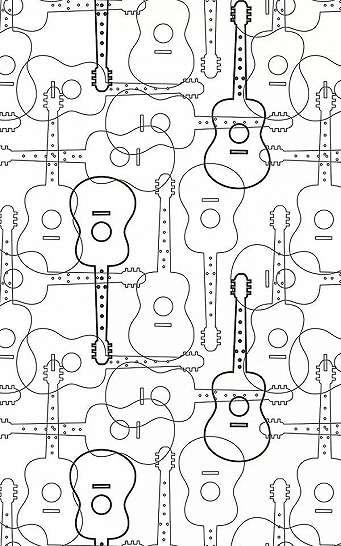 Gitár mintás vlies dekor tapéta vonalrajz stílusban