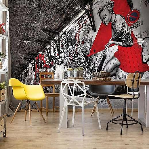 Graffiti mintás fali poszter fekete fehér, piros színekkel