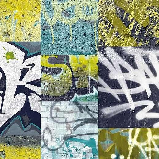Graffiti mintás gyerek tapéta lime zöld színben