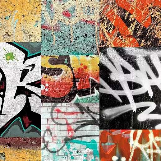 Graffiti mintás gyerek tapéta narancs, piros színben