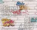 Graffiti mintás gyerek tapéta téglamintás alapon