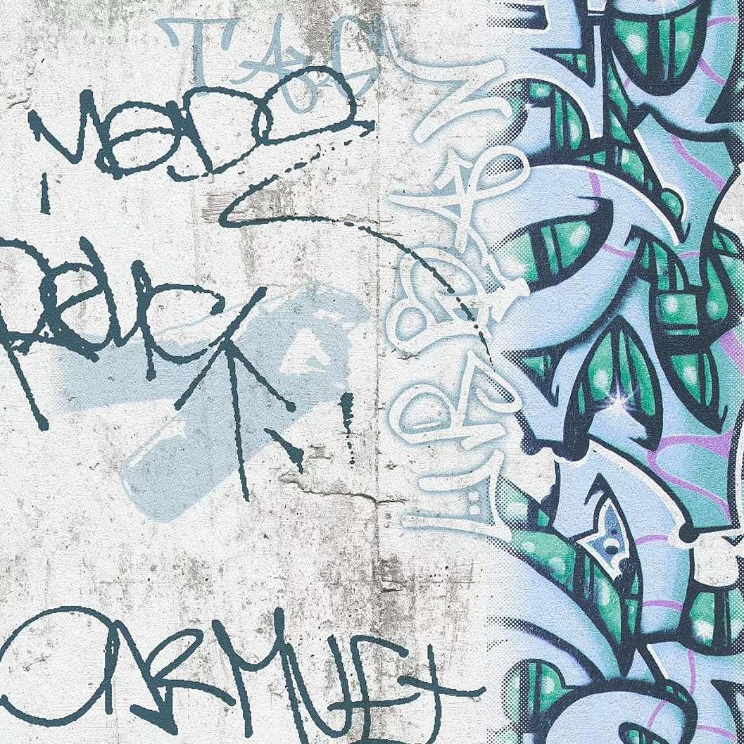 Graffiti mintás gyerek tapéta zöldes színben