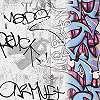 Graffiti mintás gyerektapéta szürke alapon kék graffiti mintával