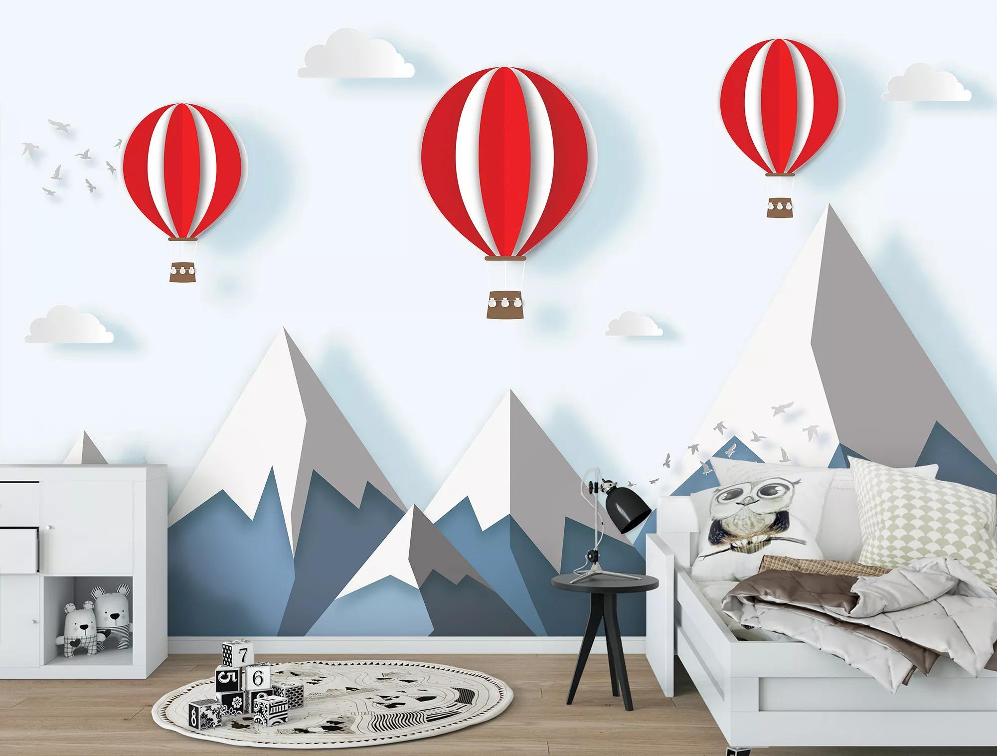 Gyerek fali poszter modern légballon mintával