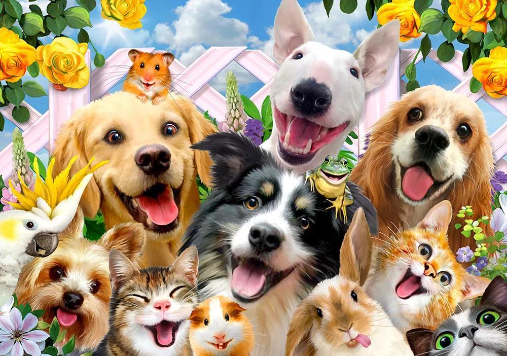 Gyerek fali poszter vicces kutya, cica mintákkal