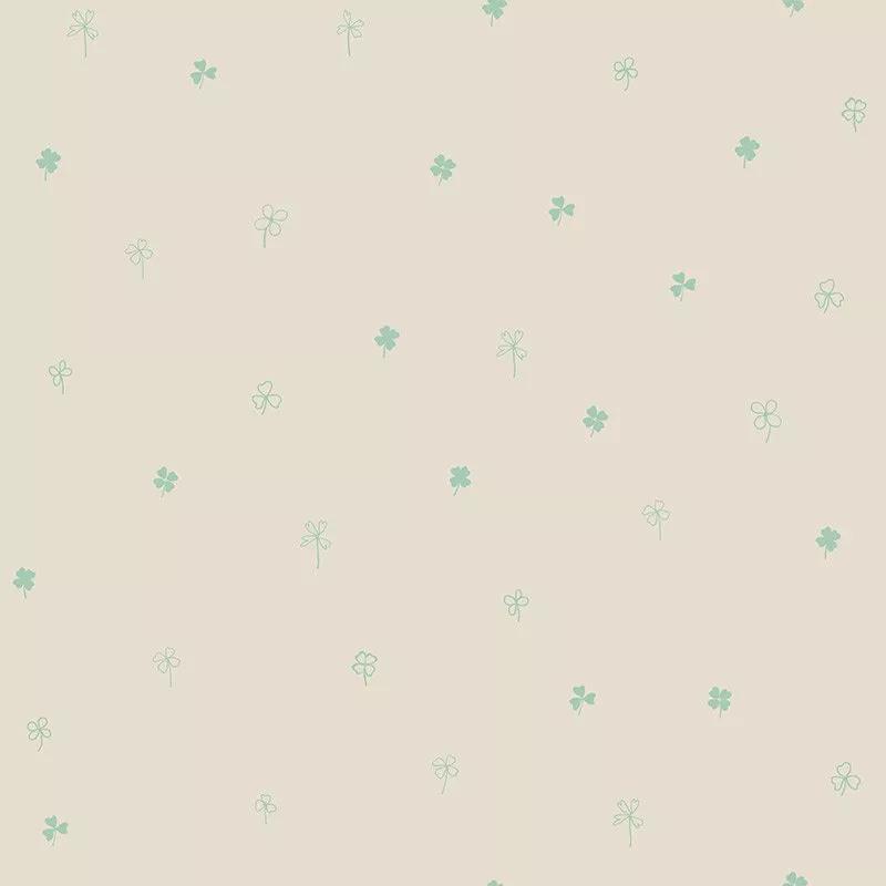 Gyerek tapéta apró loherem mintával bézs alapon zöld mintával