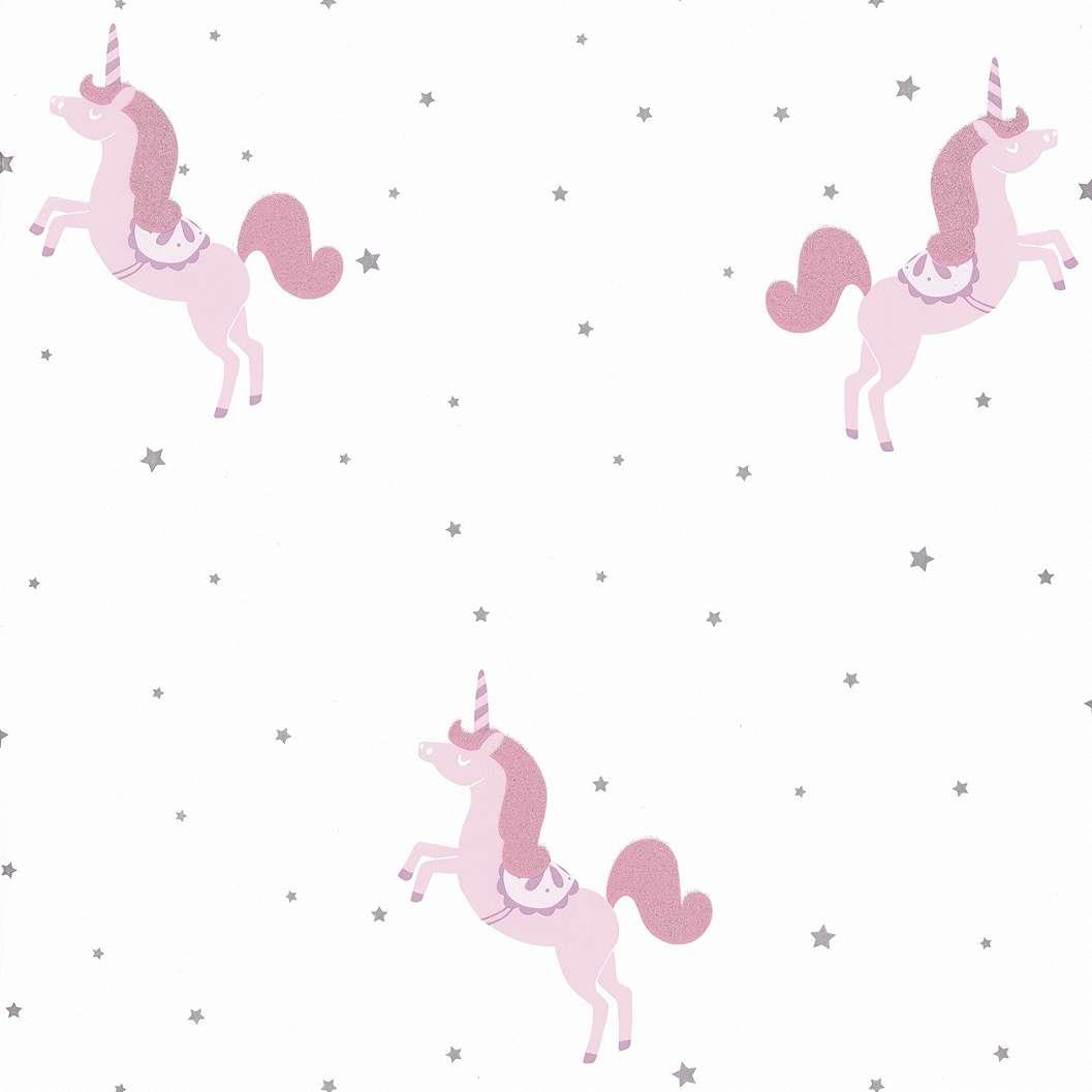Gyerek tapéta csillag, unikornis mintával rózsaszín szinnel