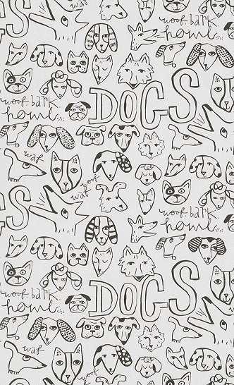 Gyerek tapéta feket fehér színben rajzolt állat mintákkal
