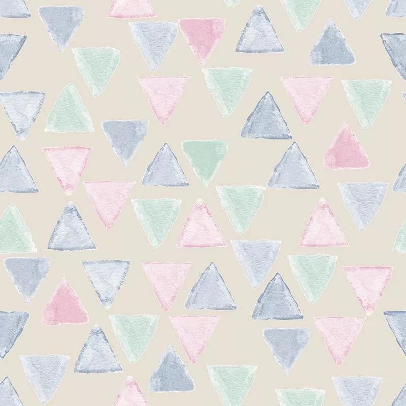Gyerek tapéta geometriai mintával bézs alapon mentazöld, rózsaszín színekkel